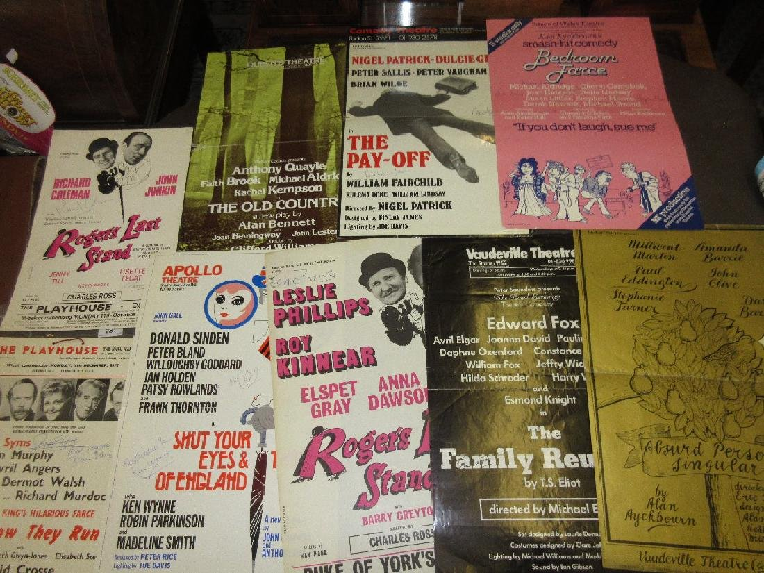 Group of nine various theatrical posters signed by