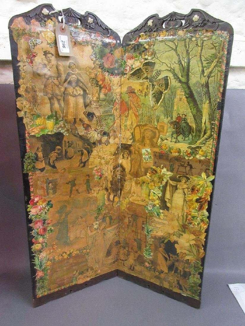 19th Century two panel table top scrapbook screen,