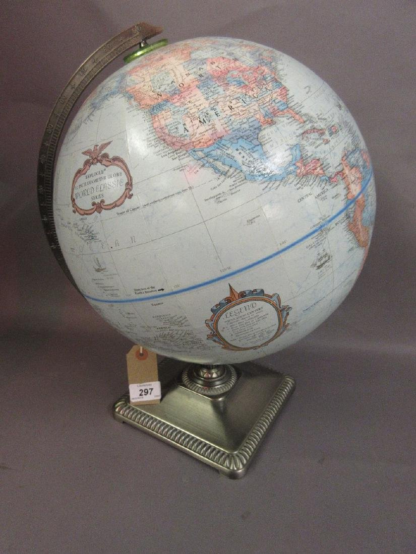 20th Century 12in globe by Replogle on a decorative