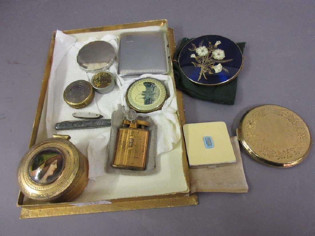 Various compacts, gilt metal trinket box, cigarette