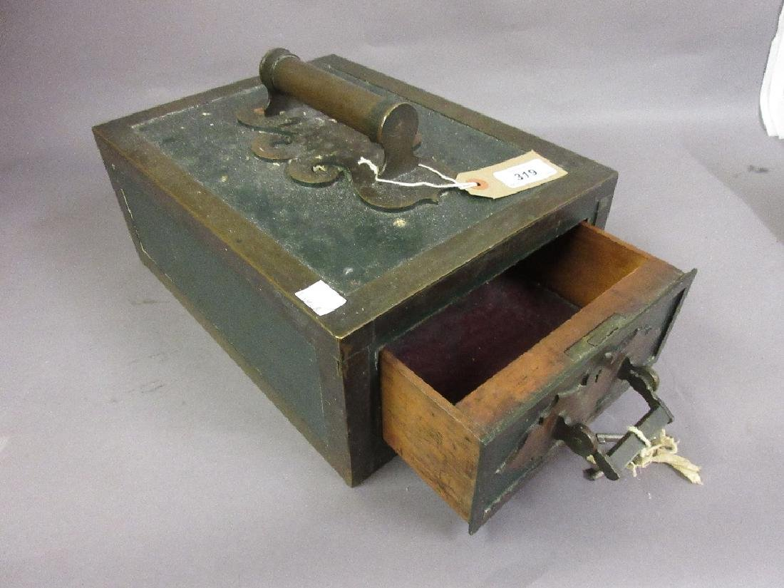 Small Victorian portable safe with key