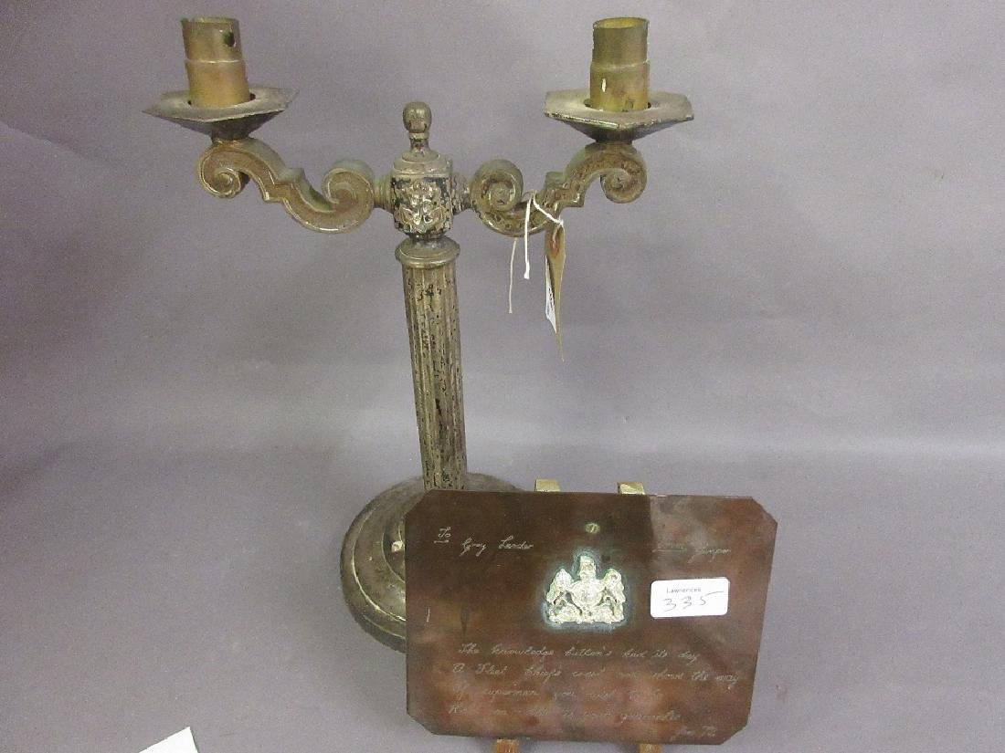 Silver plated two branch marine table lamp, together