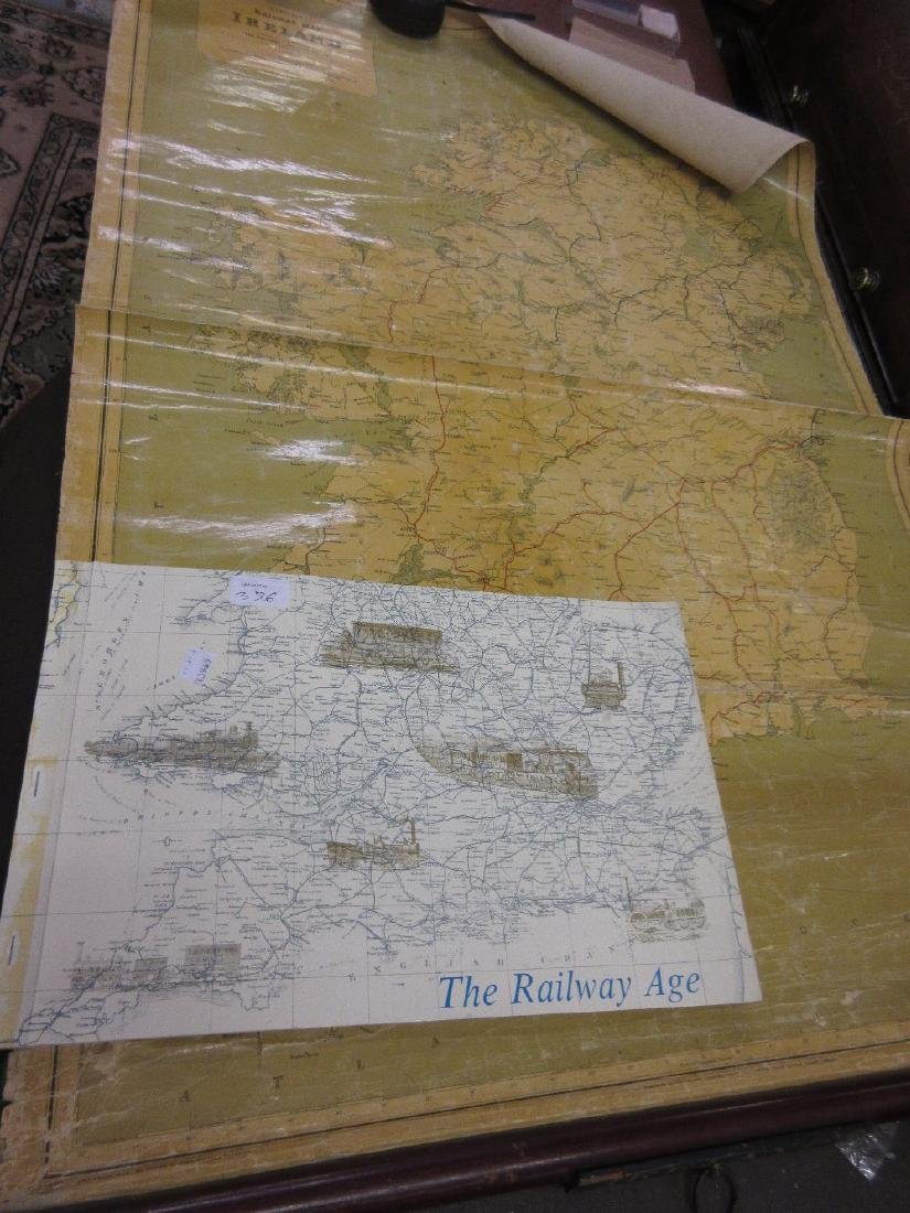 Wall hanging railway map of Ireland, dated 1912,
