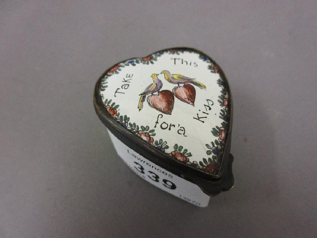 Bilston enamel heart shaped trinket box, ' Take this