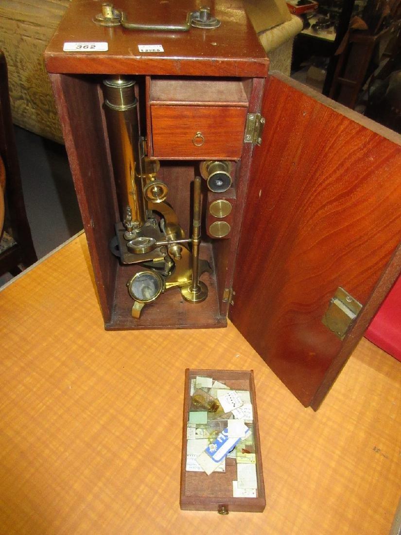 Barr lacquered brass monocular microscope in original