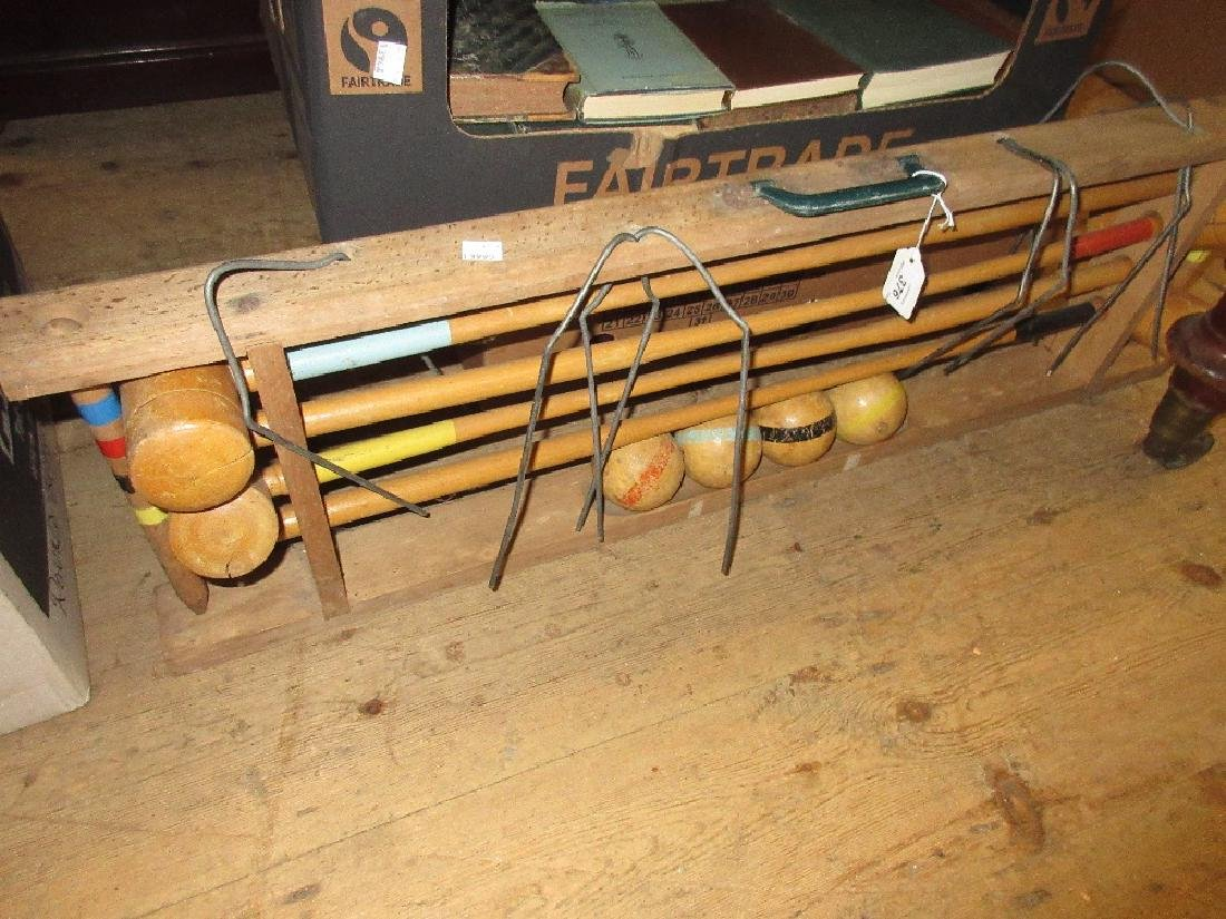 Mid 20th Century beechwood croquet set on wooden stand