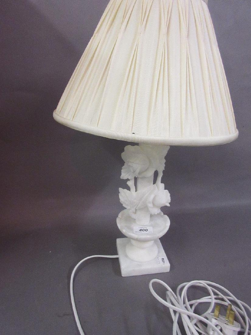 20th Century carved alabaster table lamp base with