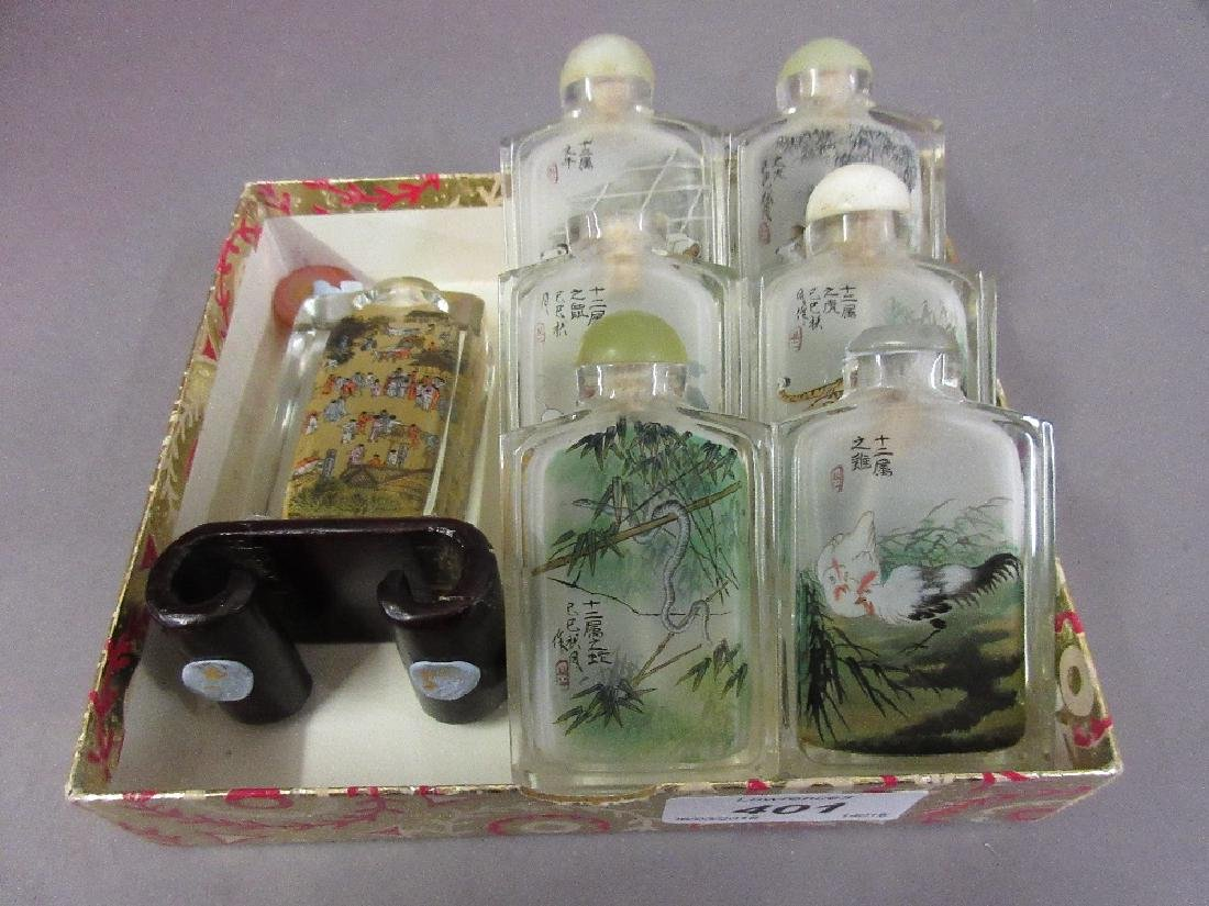 Group of seven Chinese internally painted glass snuff