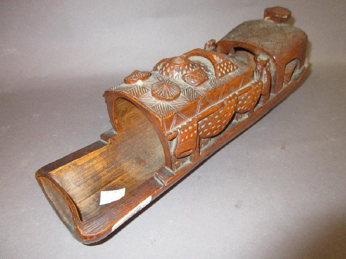 Chinese carved bamboo boat form pen tray
