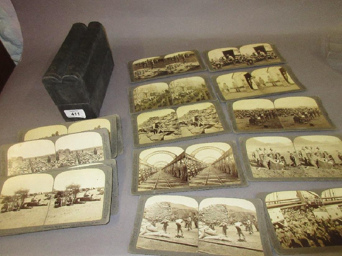 Boxed set of thirty two stereographic cards, ' The Boer