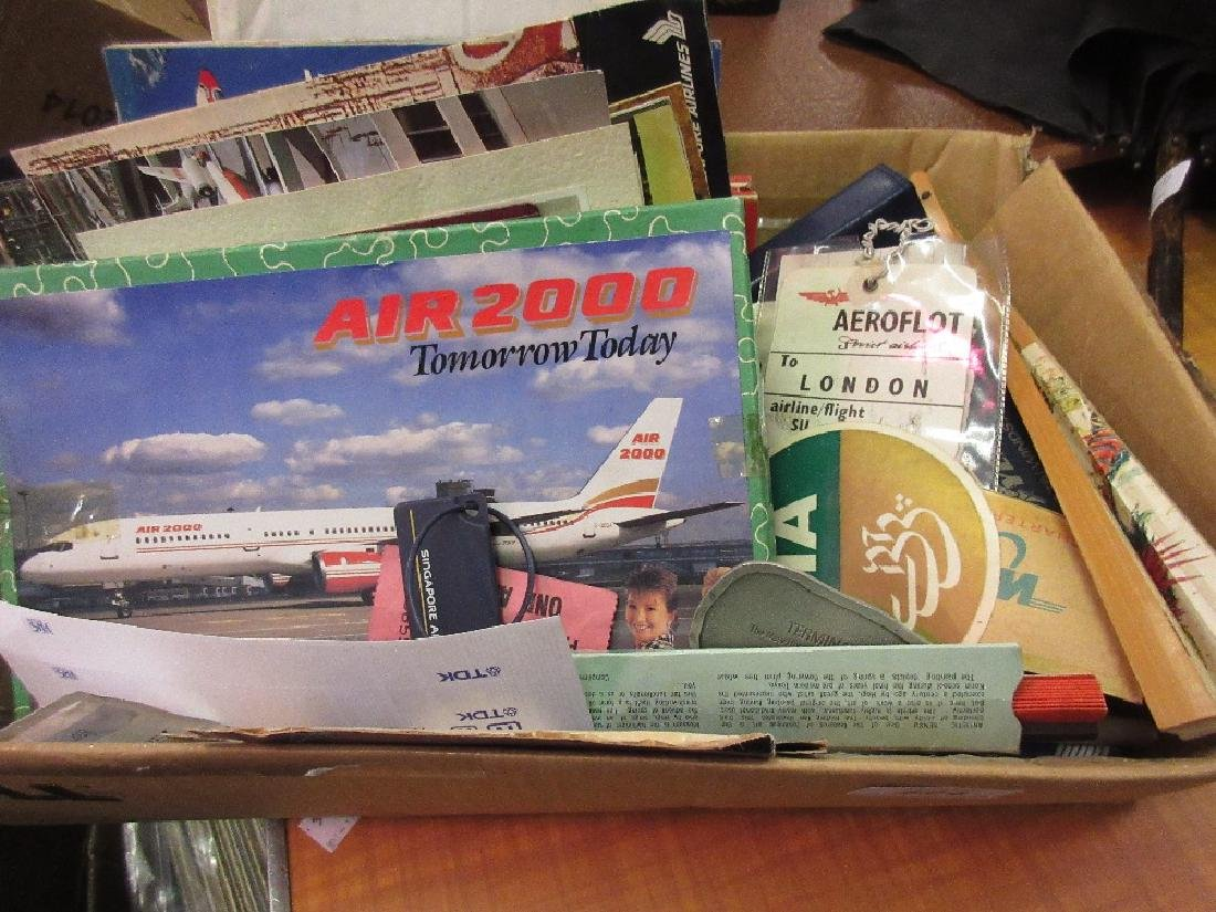 Box containing a collection of airline related ephemera