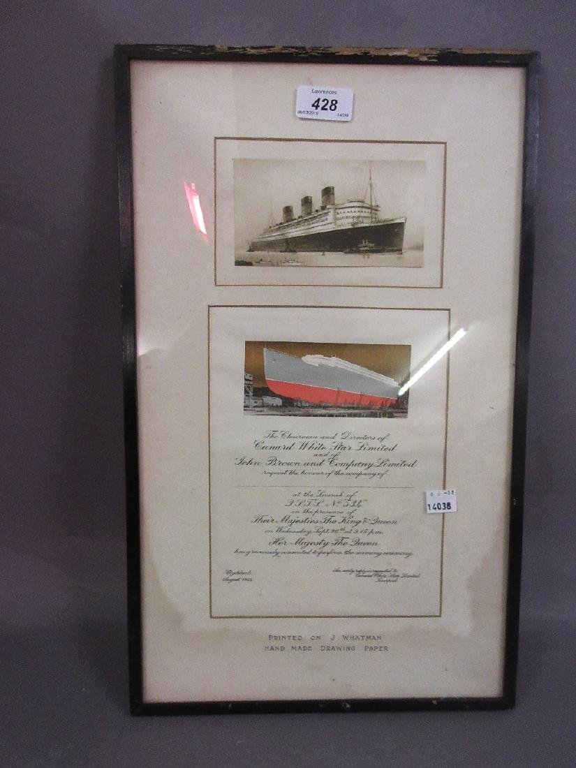 Framed invitation to the launch of a Cunard White Star