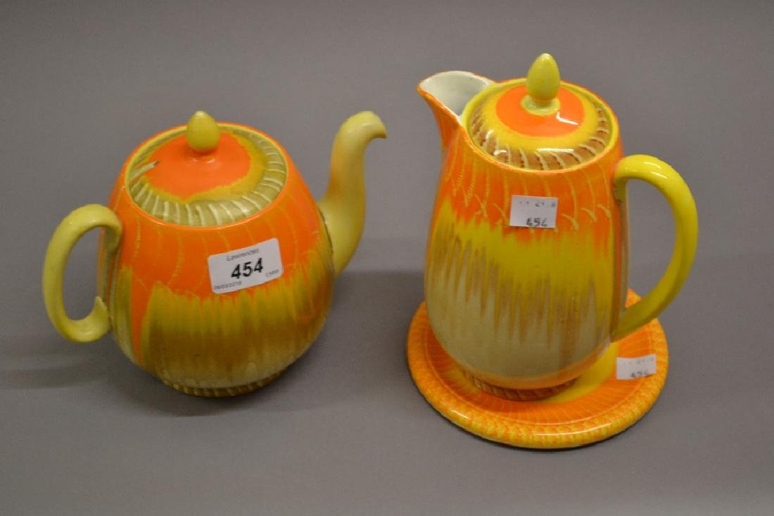 Shelley Volcano pattern teapot with stand, together