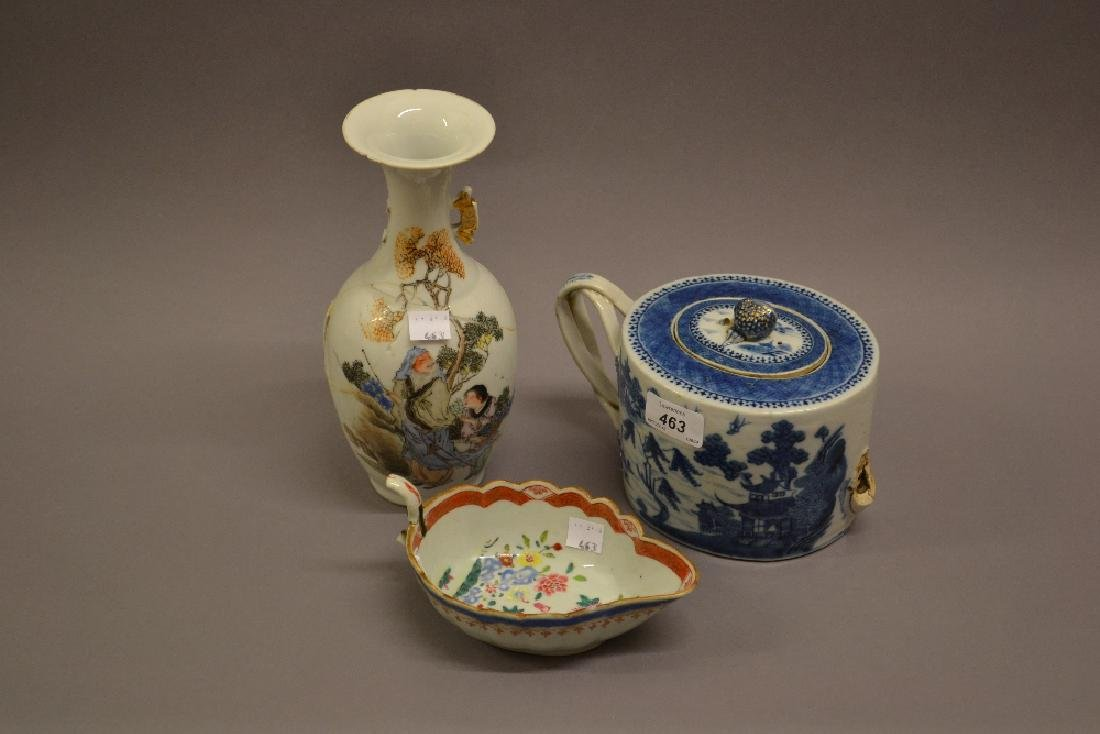 18th Century Chinese blue and white teapot (at fault),