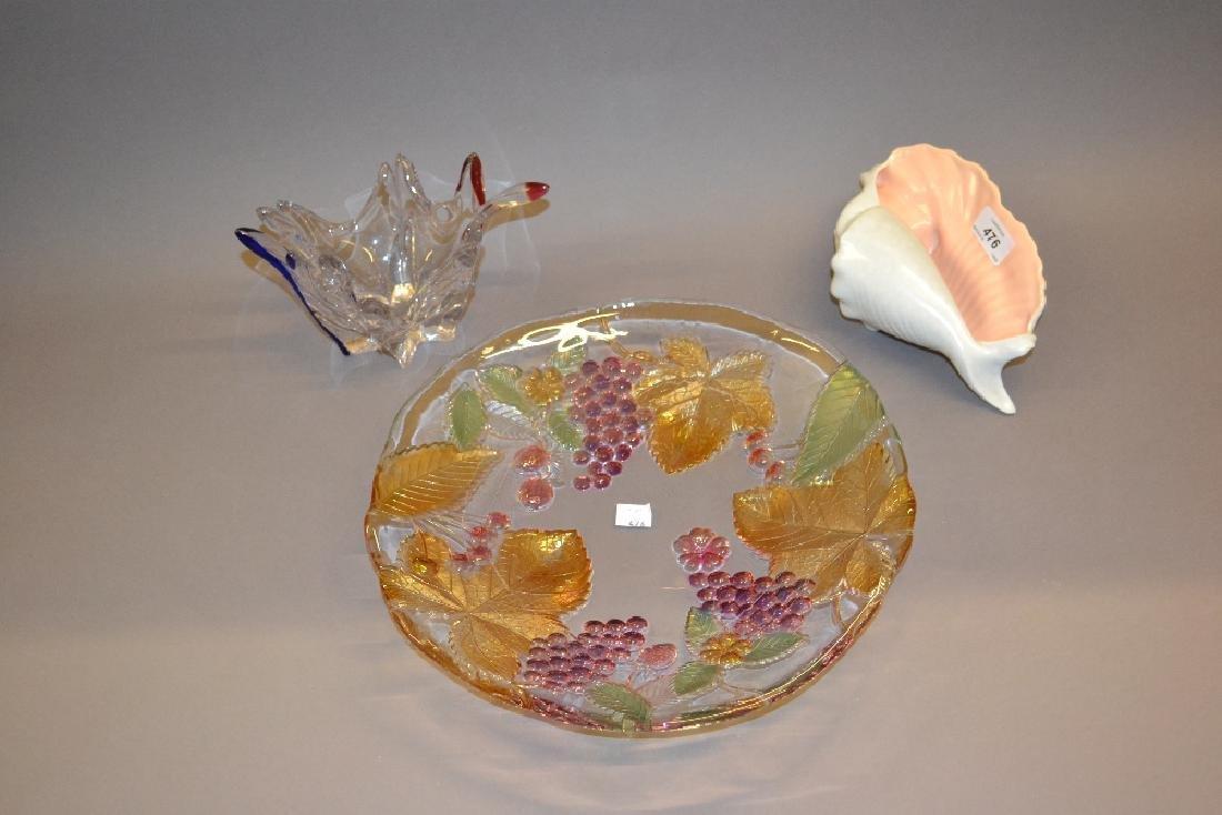 Poole Pottery shell form dish, Art Glass vase, glass