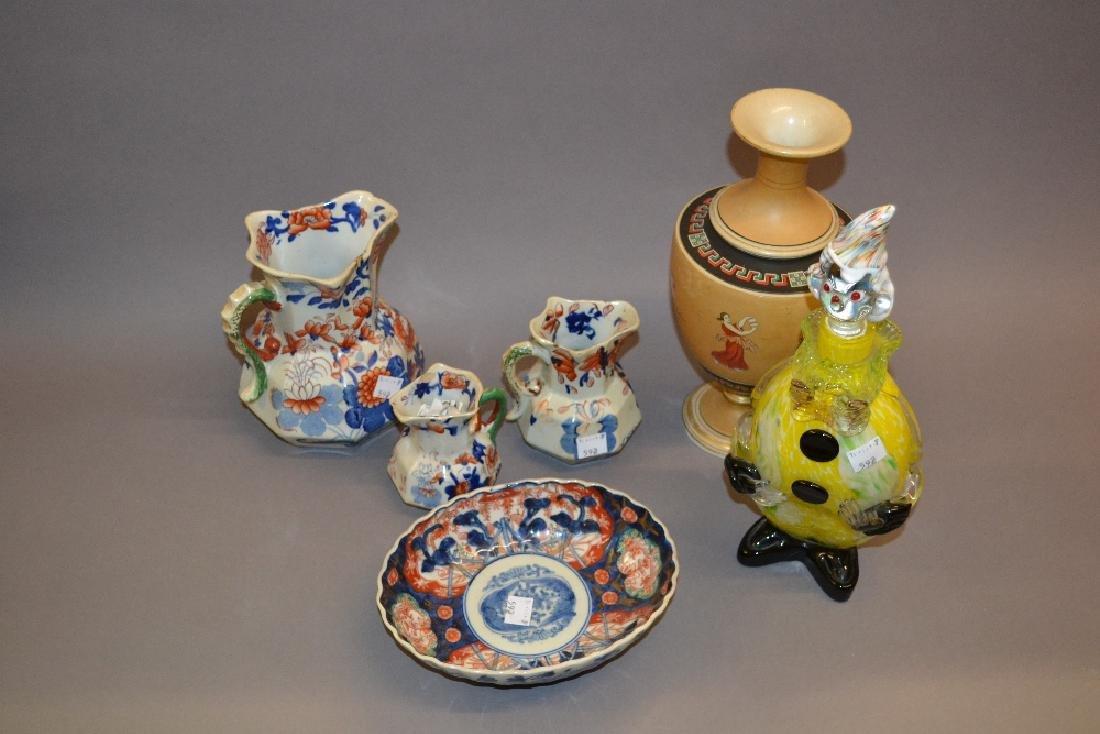 Murano glass figural decanter, an Imari pattern pottery