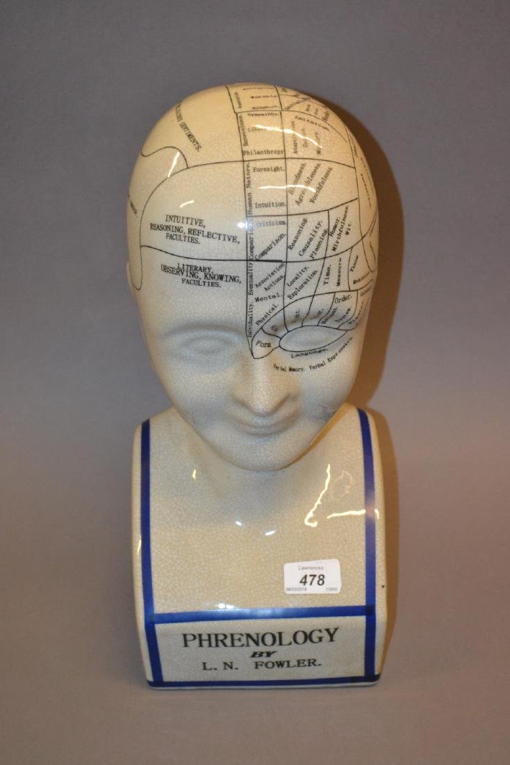 Reproduction pottery phrenology head