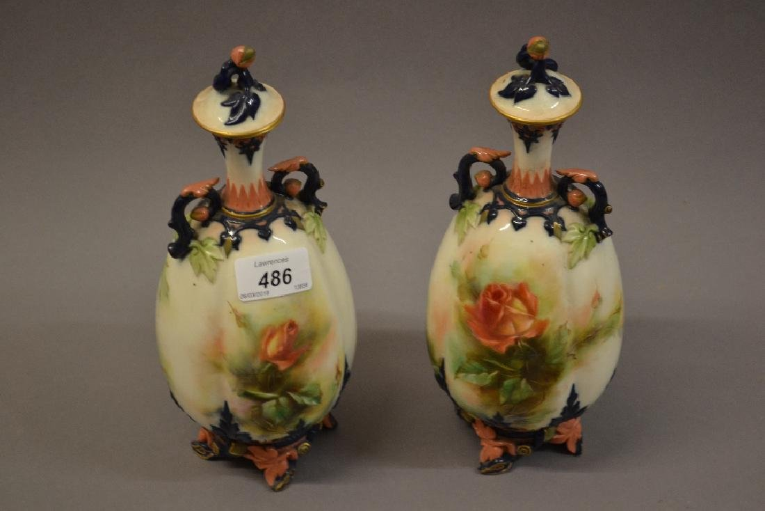 Pair of Hadley Worcester vases, the oviform lobed