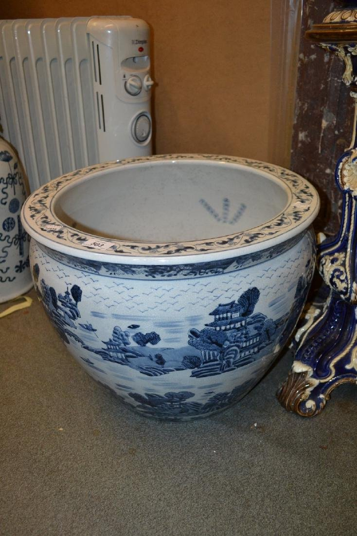 Large reproduction Chinese blue and white fish bowl