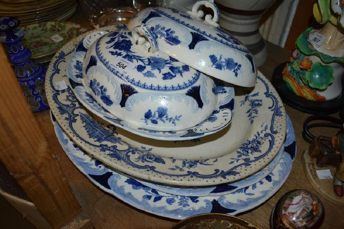 Copeland blue and white transfer printed meat dish, two