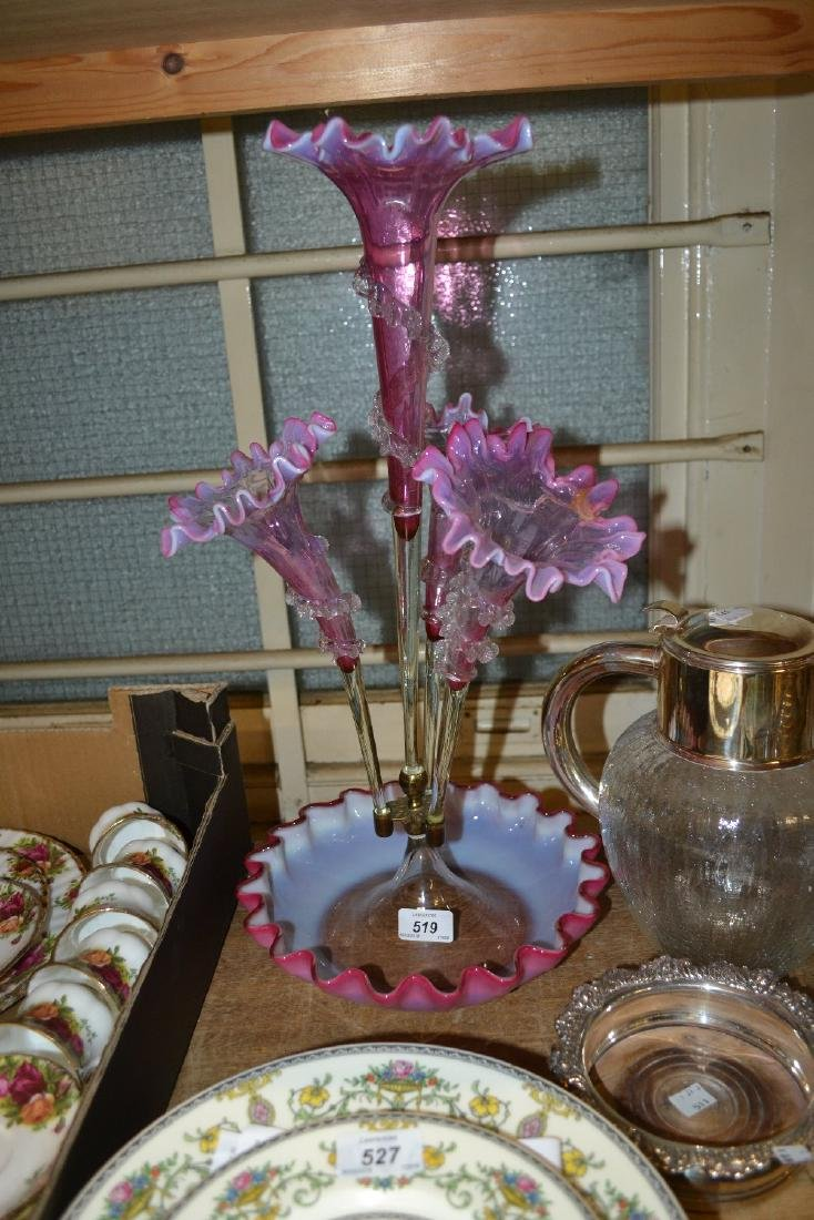 Victorian pink and Vaseline glass four stem epergne