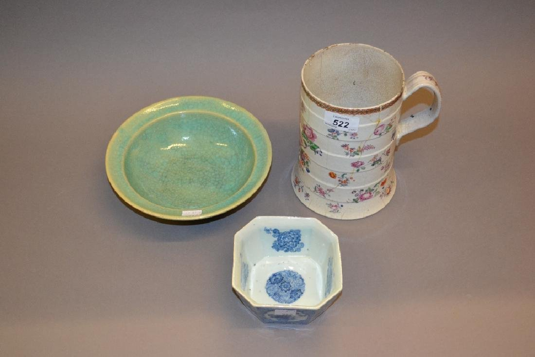 Chinese blue and white octagonal bowl, a Celadon dish