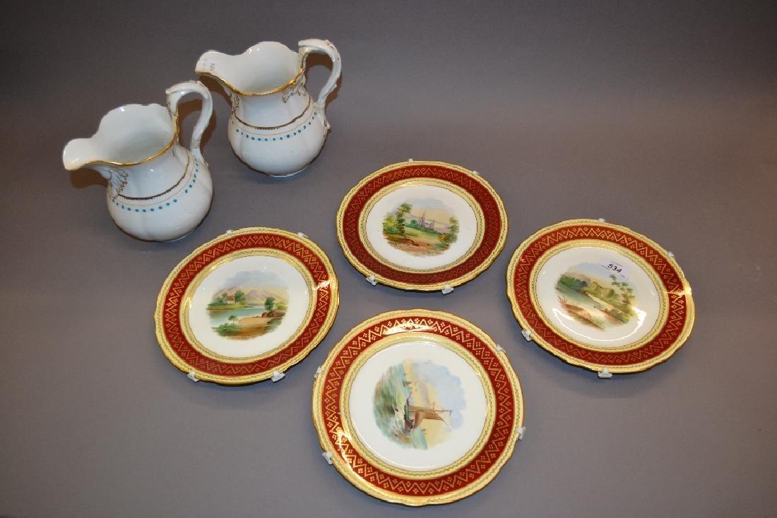 Set of four 19th Century English porcelain dessert