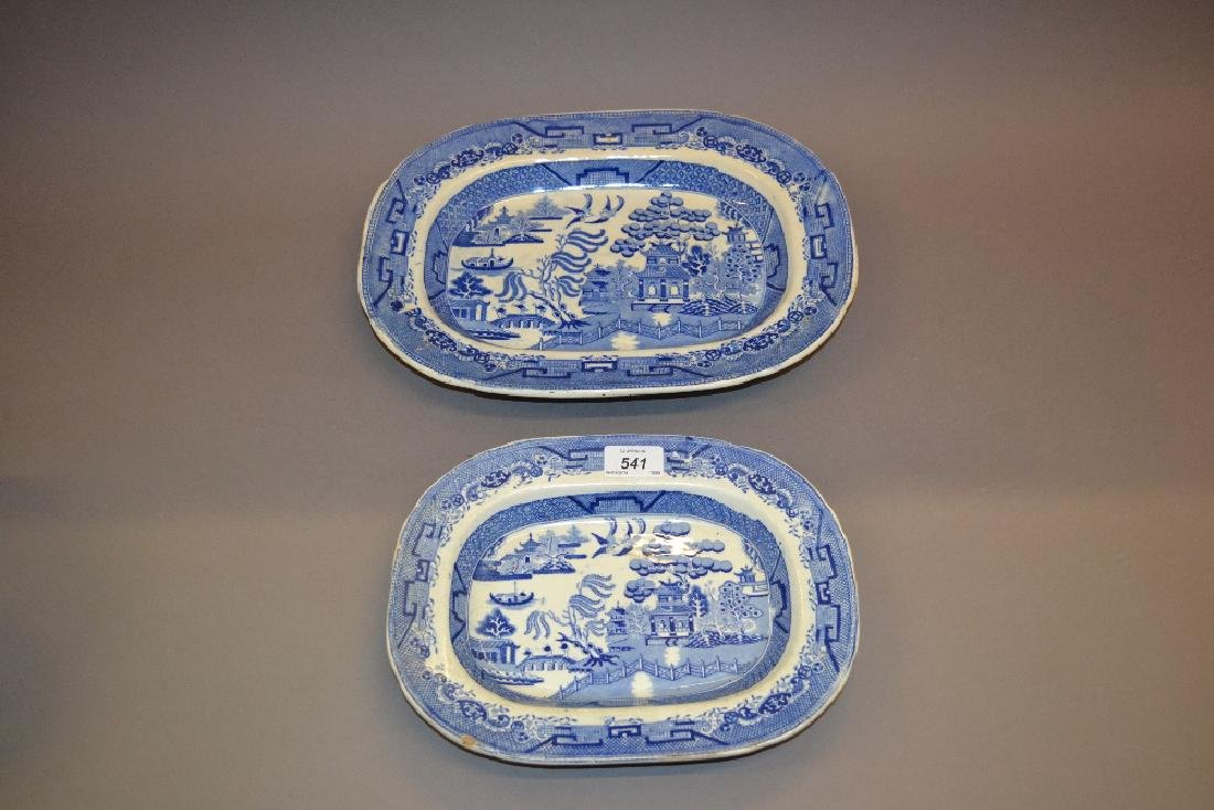 Two 19th Century blue and white transfer printed meat