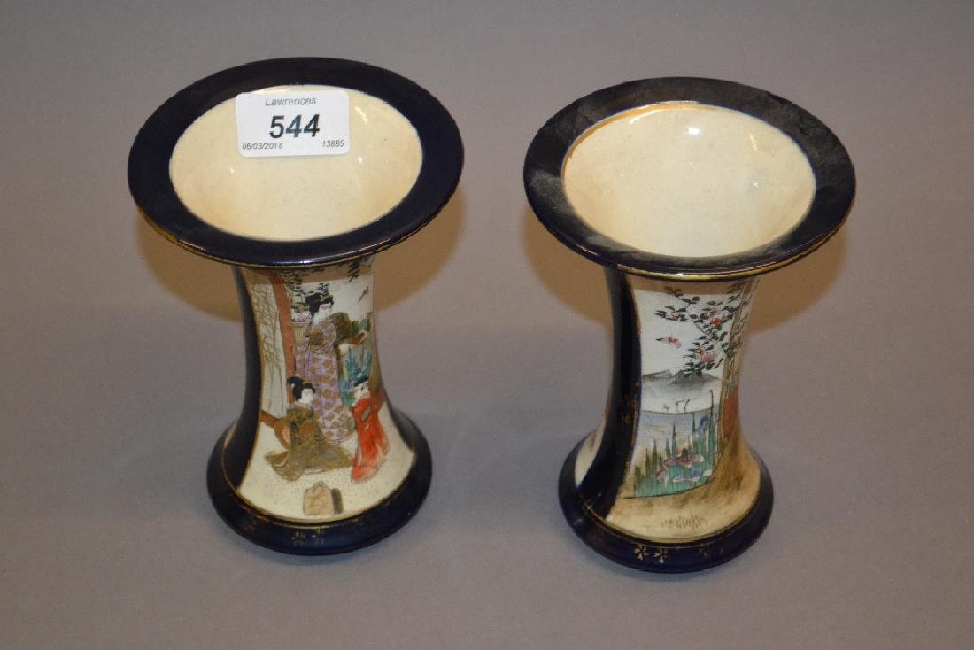 Pair of Satsuma waisted vases painted with panels of