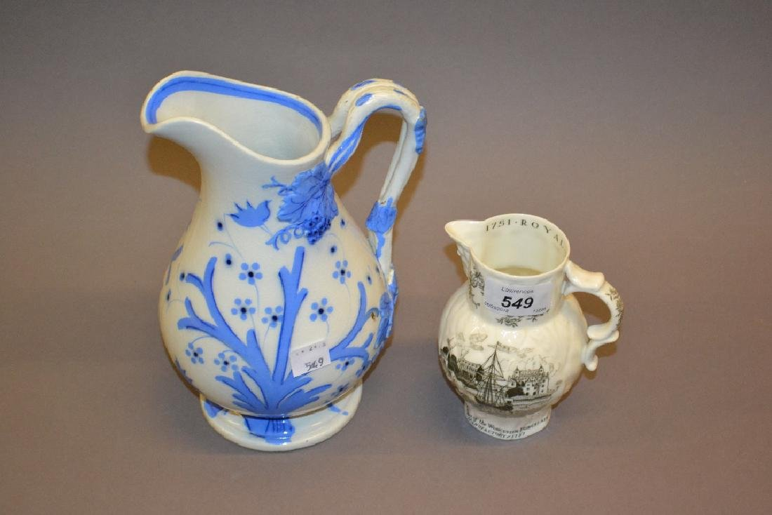 Blue and white transfer printed jug and a small black