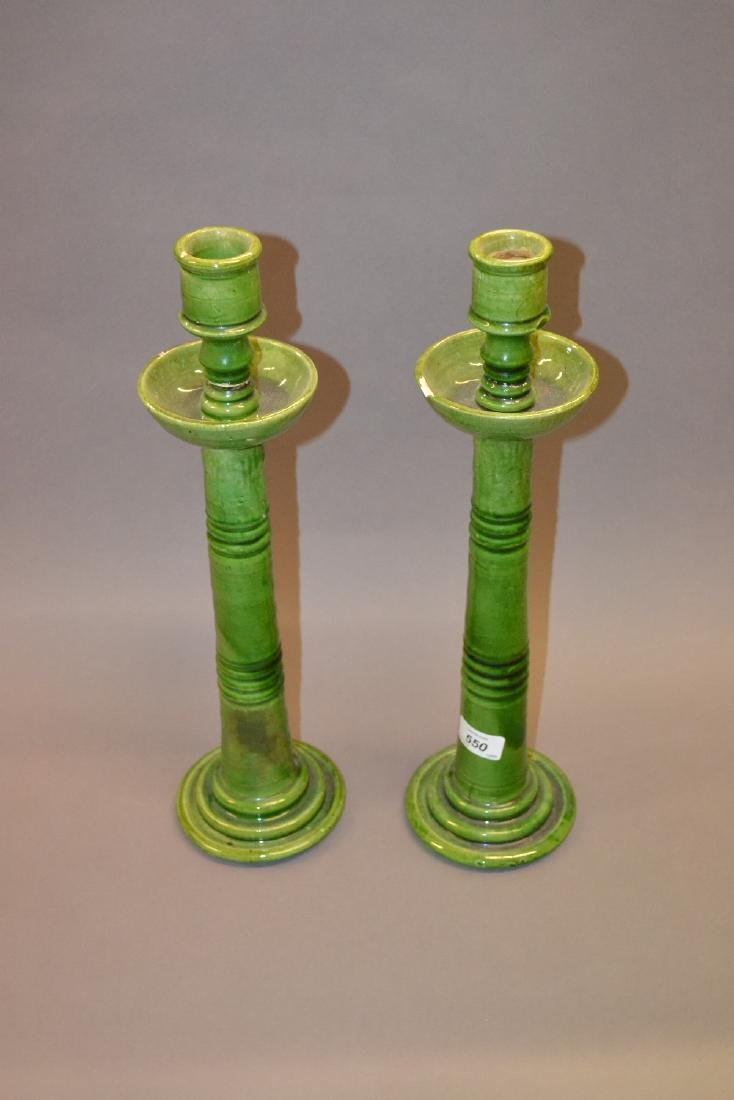 Pair of Arts and Crafts green glazed pottery