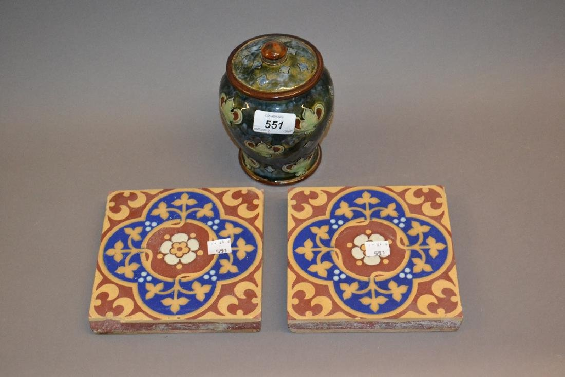 Royal Doulton stoneware jar and cover together with two