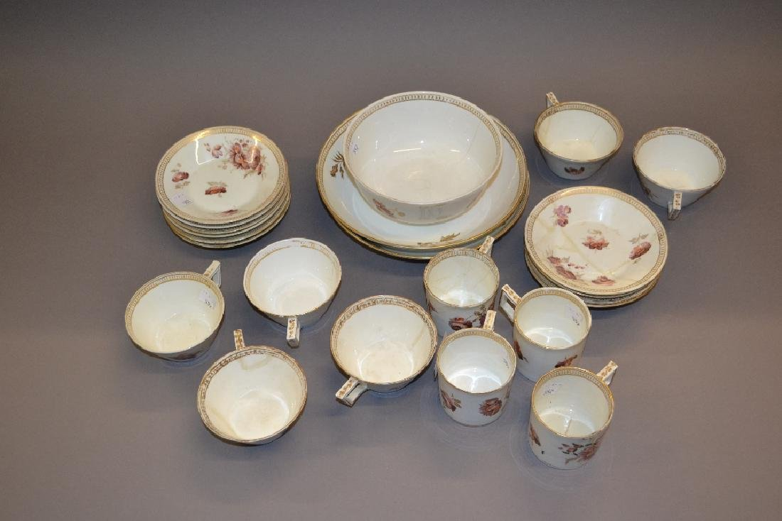 Early 19th Century Derby part tea service painted with