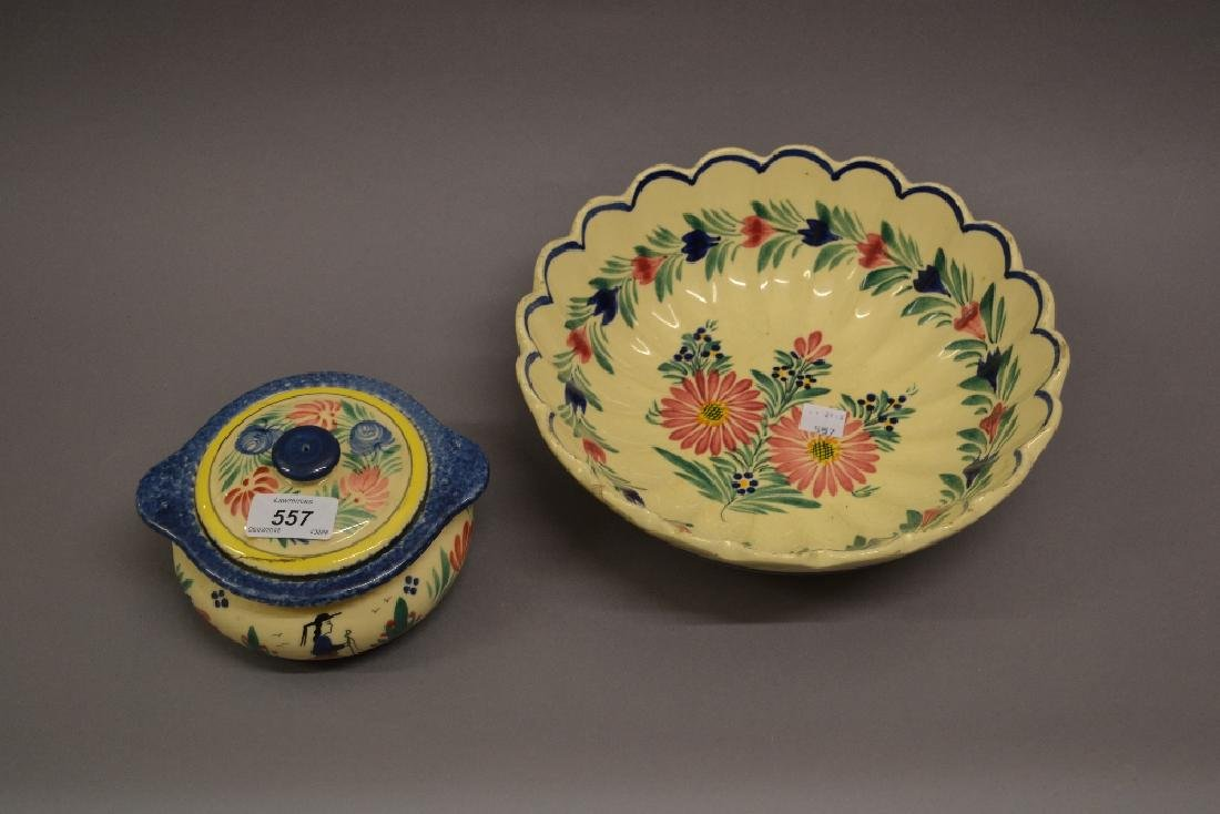 Quimper pottery vase together with a Quimper box and