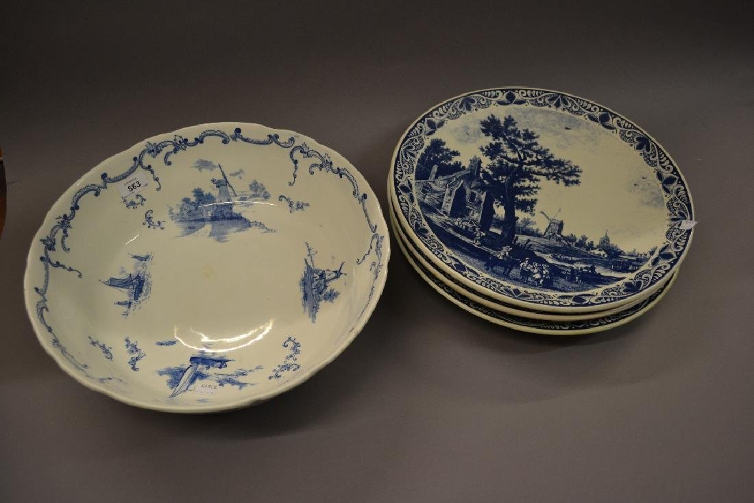 Three large blue and white Delft ware wall plates