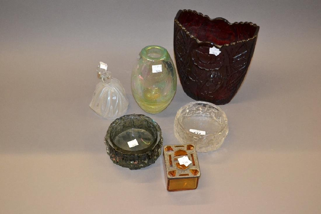 Two Whitefriars glass dishes and an amber glass casket