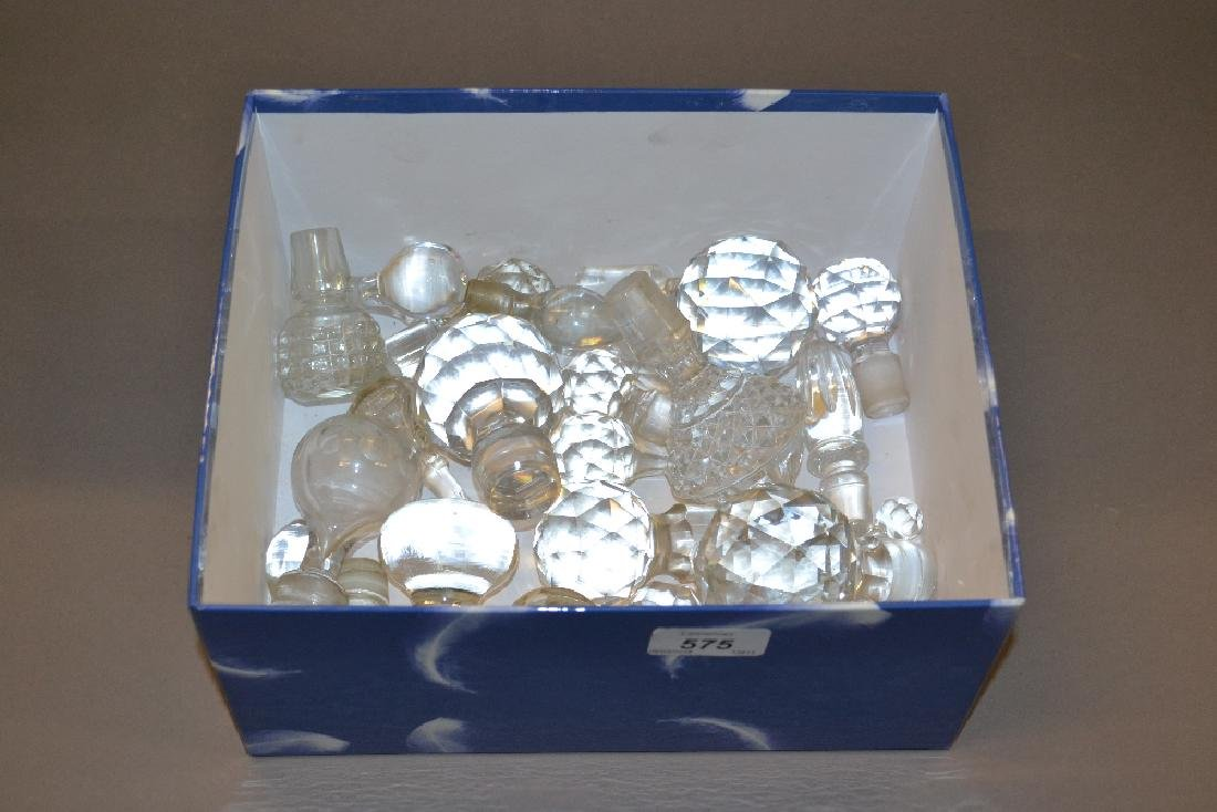 Quantity of various glass decanter stoppers