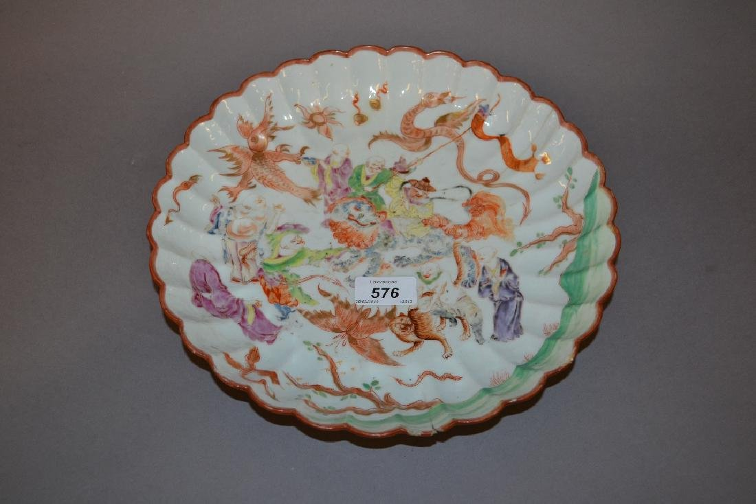 Chinese circular shallow porcelain bowl, painted with