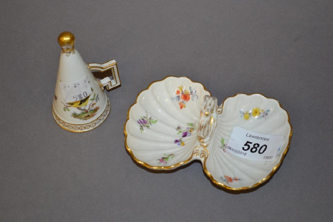 Late Meissen floral painted salt together with a