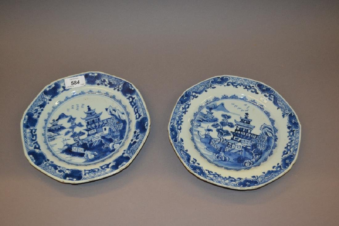 Pair of 18th Century Chinese blue and white octagonal