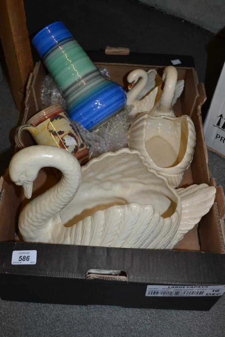 Graduated set of three Dartmouth pottery swan vases
