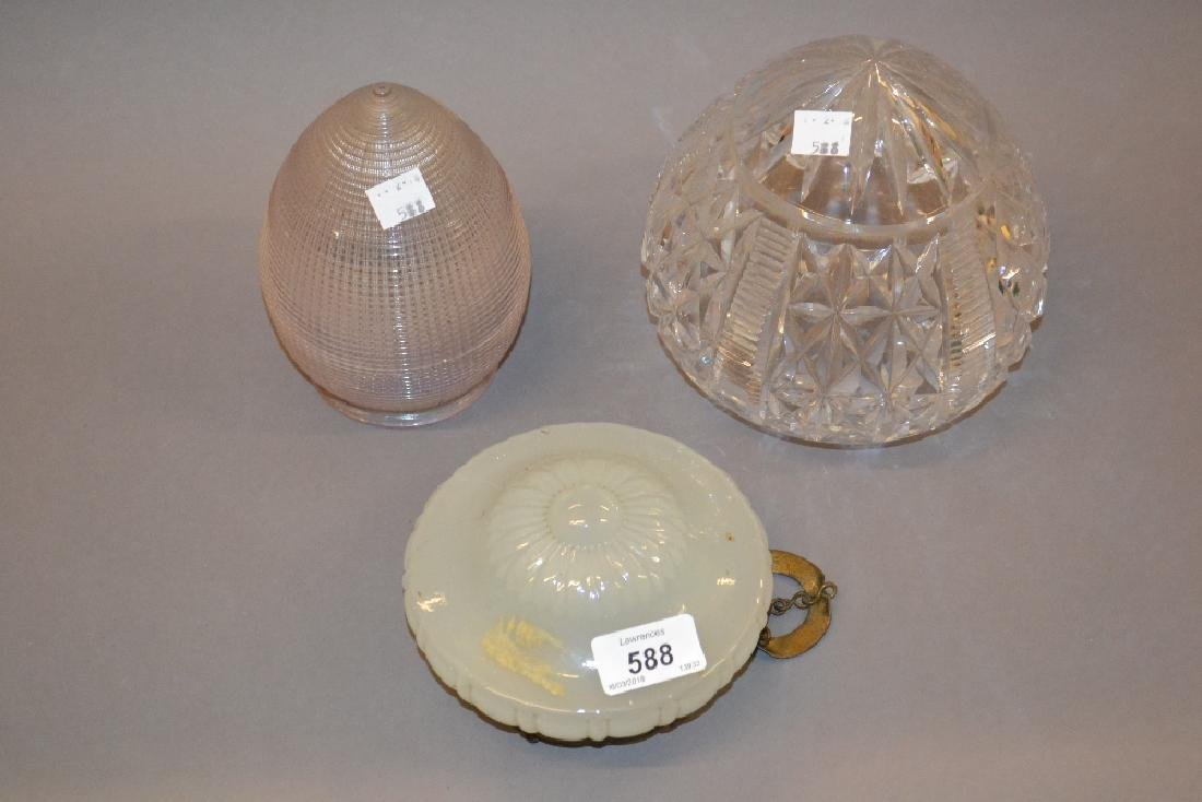 Cut glass lamp shade, a moulded glass lamp shade and an