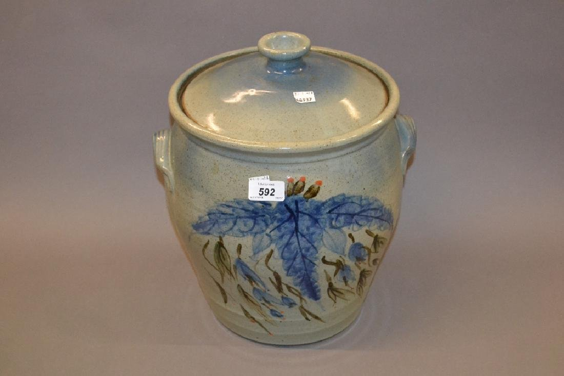 Large 20th Century stoneware dough bin with cover,
