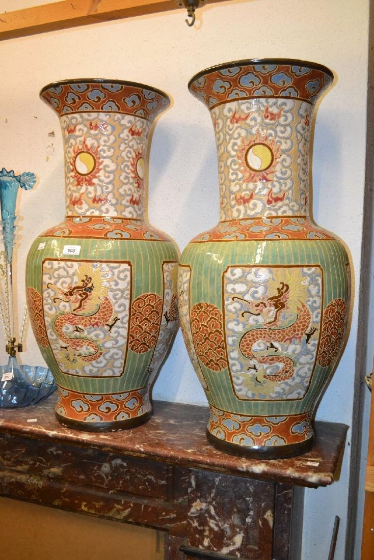 Pair of large Chinese stoneware baluster form vases