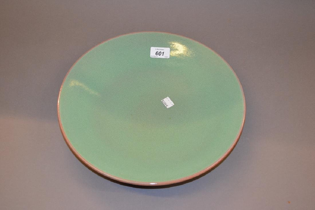 Poole Pottery green mottled glazed shallow bowl