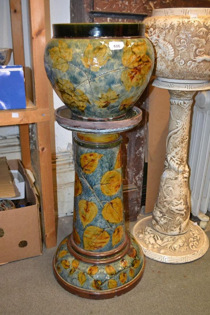 Royal Doulton stoneware jardinière on stand having