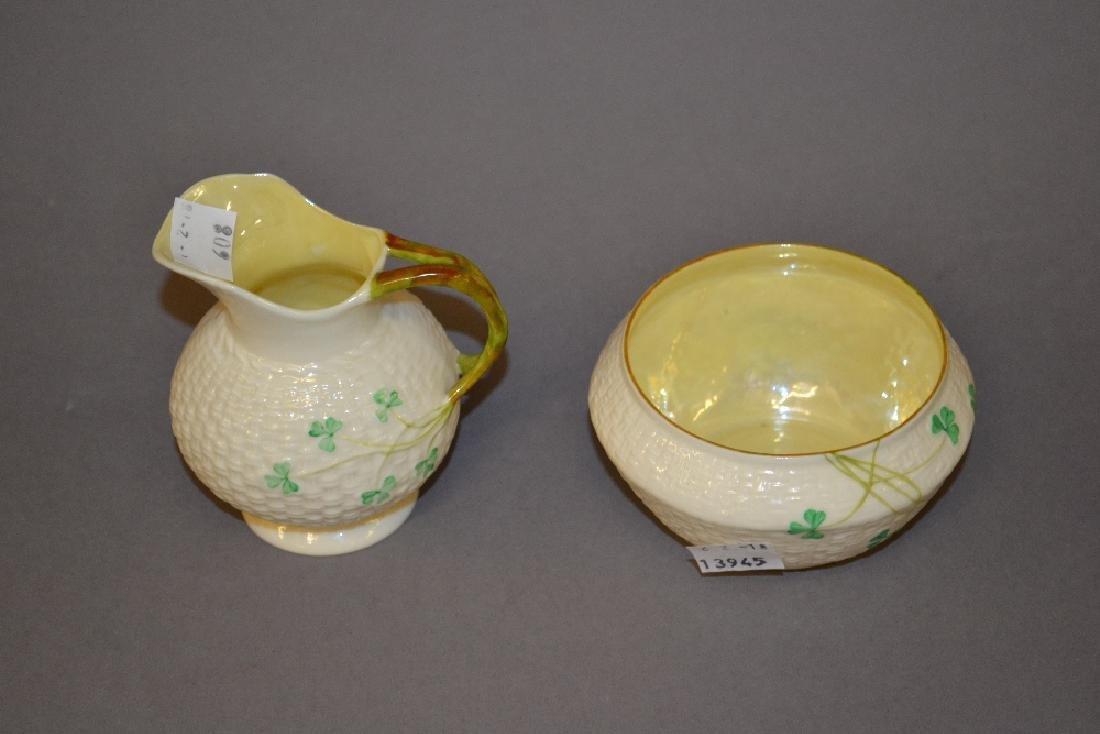 Belleek cream jug with matching sugar bowl having