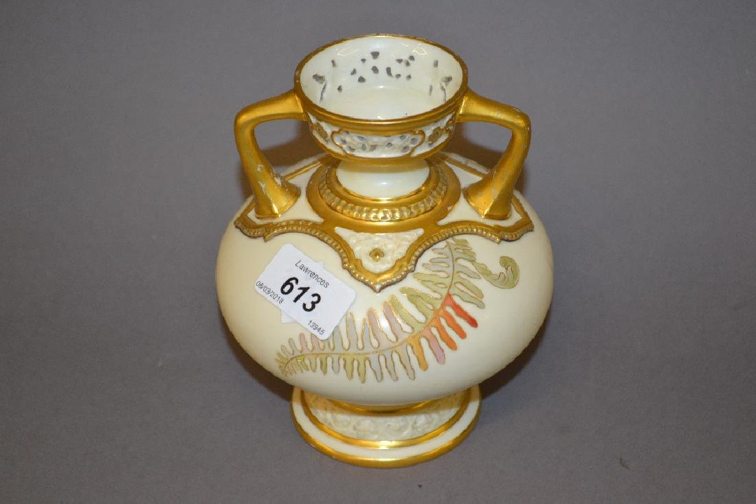 Royal Worcester blush ivory two handled squat baluster