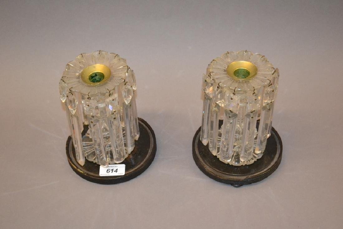 Pair of 19th Century cut glass candlestick lustres on