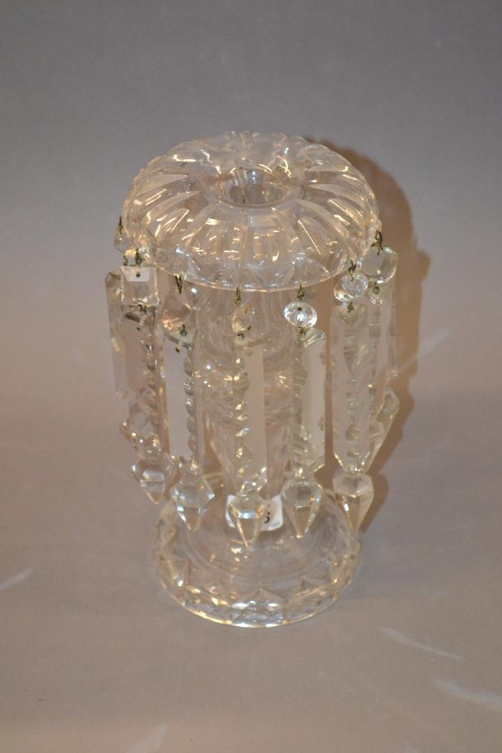 Cut glass lustre with cut glass drops, 10.5ins high